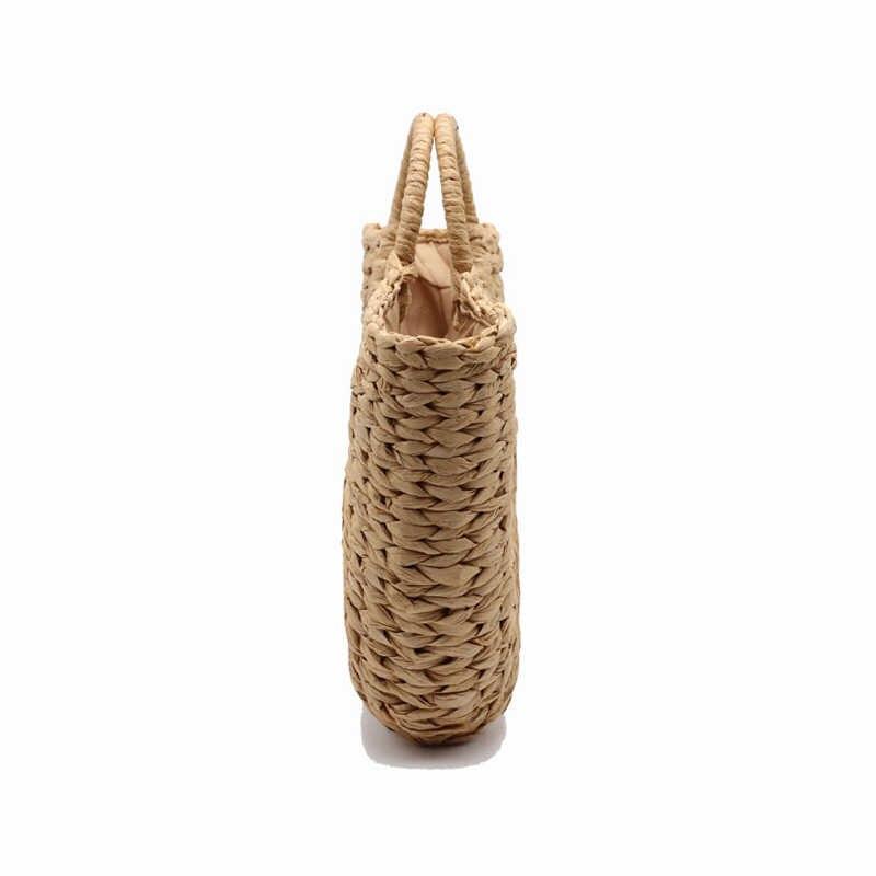 REREKAXI Novo Artesanal em forma de Lua-Senhoras Da Forma de Palha Tecida Saco De Praia Bolsa de Verão das Mulheres Sacos de Viagem Tote da Compra