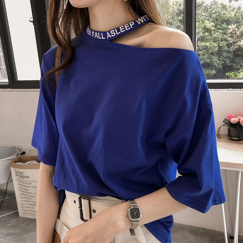 Casual T-shirt Women Summer 2018 Short Sleeve Loose Letter Print Sexy Off Shoulder Halter Tops Plus Size 4XL Tee Shirt Femmes