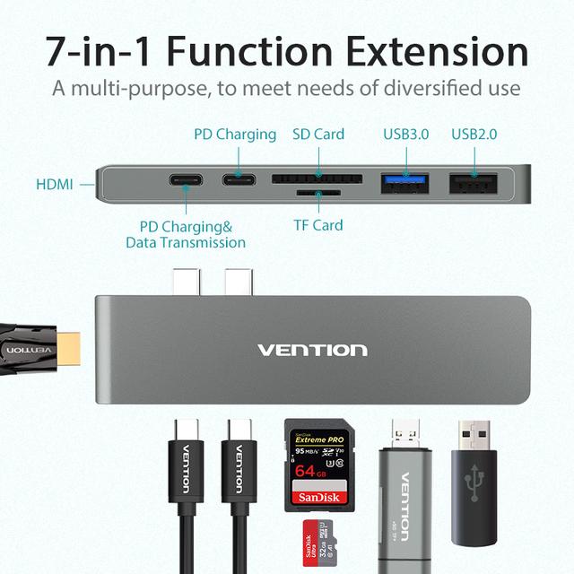 Vention USB-C Adapter Thunderbolt 3 Dock USB Type C to HDMI Converter For New Macbook Pro 2017 2018  usb-c Hub SD/TF Card Reader