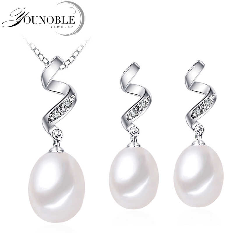 Real Freshwater Beautiful AAAA Natural Pearl Jewelry Set With 8-9mm High Luster Pearl, White Pink Purple Drop Pendant&earrings