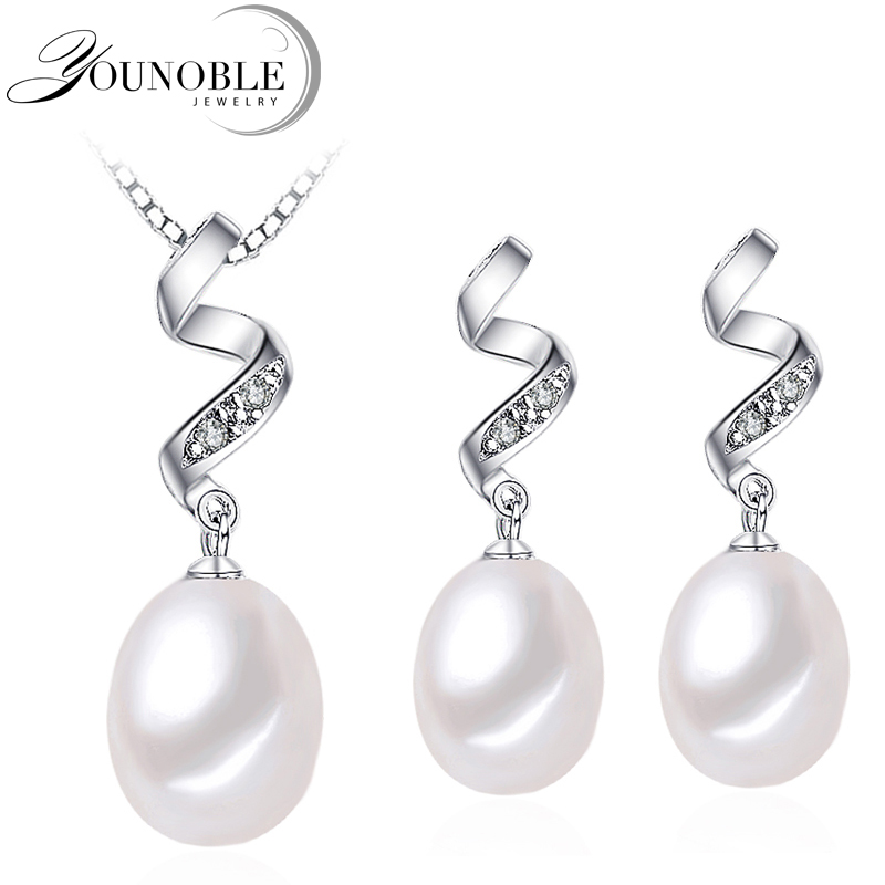 Real Freshwater Beautiful AAAA Natural Pearl Jewelry Set With 8-9mm High Luster Pearl, White Pink Purple Drop Pendant&earrings 2017 elegant 8 9mm white freshwater aaaa pearl necklace 45cm bread round high luster women pearl pendant