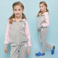 Bahar Sonbahar Kız Spor Suit Set Velet Çocuk Giyim Setleri Çocuklar Spor Büyük Kız Hoodies Ceket ve Pantolon 4-15Y DQ196
