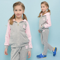 Spring Autumn Girls Sports Suit Set Velet Children Clothing Sets Kids Sportswear Big Girls Hoodies Jacket