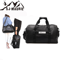 Gym Bag Women PU Sport Travel Training Fitness Bag Luggage Bag Portable Shoulder Dachshund Bag with Flip Belt