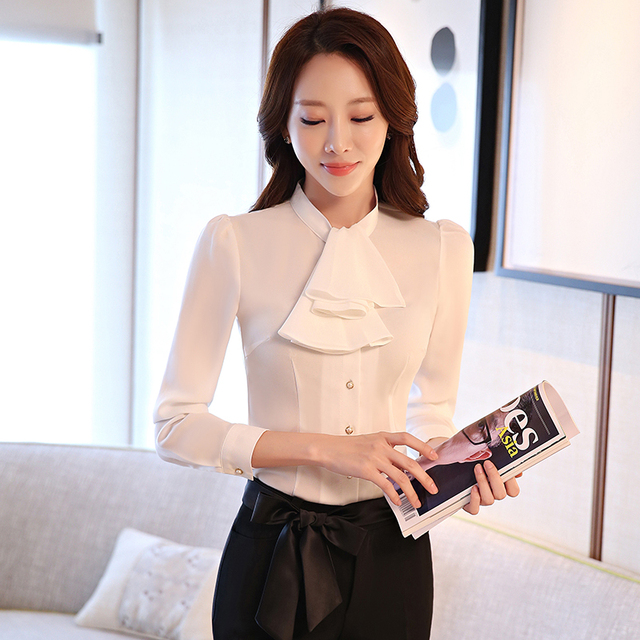 Office Lady Long Sleeve Shirt Autumn New Professional Temperament Female Blouse Women Solid Color Ribbon Clothing