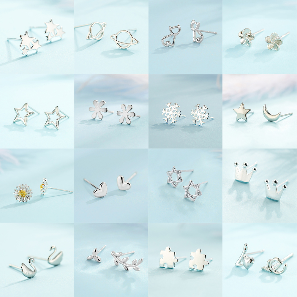 925 achados de prata splicing bonito animal estrela brincos para mulheres estilo casual menina brincos moda jóias presente Brincos de tarracha    -