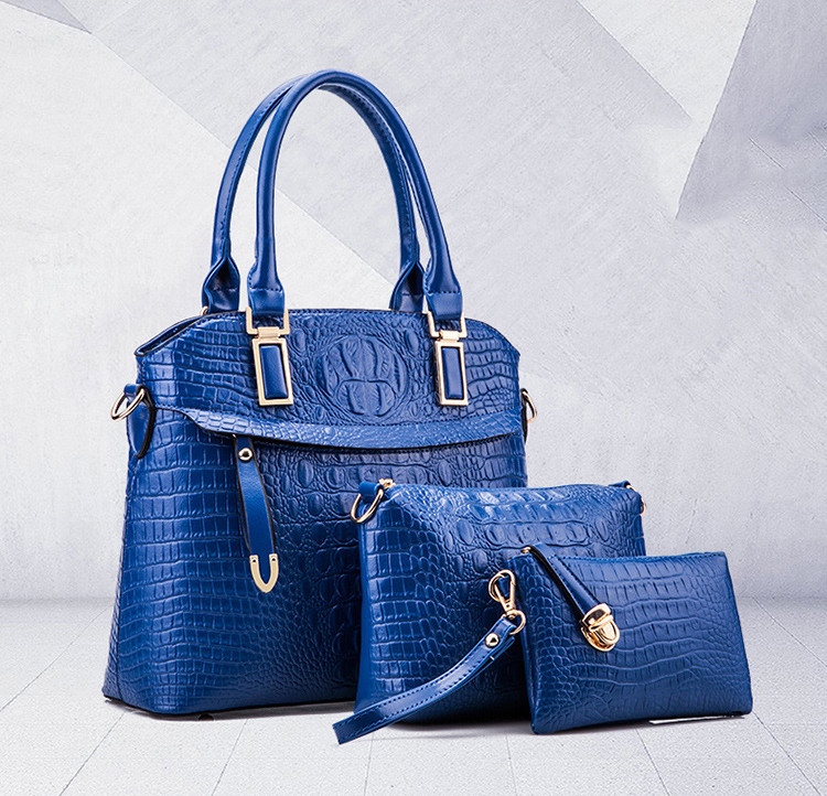 3Pcs/Set Female Shoulder Bags Set Women Handbag Set Crocodile Type Leather Tote Bag Ladies Handbags Messenger Purse Bag