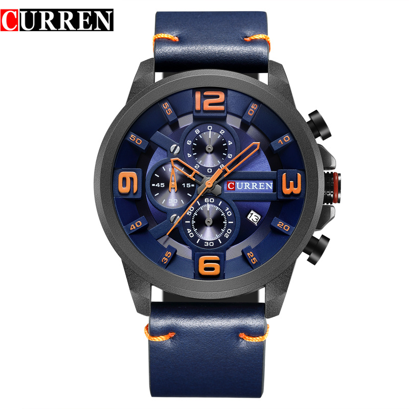 CURREN Fashion style Quartz Men Watches Chronograph Men Sports Wristwatch Waterproof Male Clock Relogio Masculino Reloj Hombrehombrehombre reloj  -