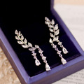 Fashion Elegant Long Drop Plant leaf shaped dangle earrings Cubic Zirconia Waterdrop Tassels white Gold Plated Women Jewelry