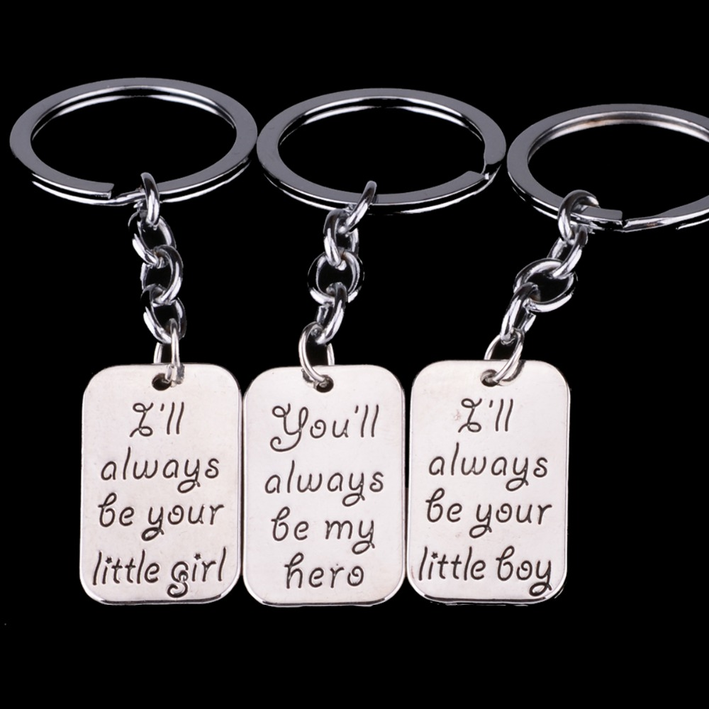 Bespmosp 3PC Family Little Boy Girl My Hero Dad Daddy Daughter Son Keyrings Key Chains Rings Keychains Boys Girls Father Keyfob