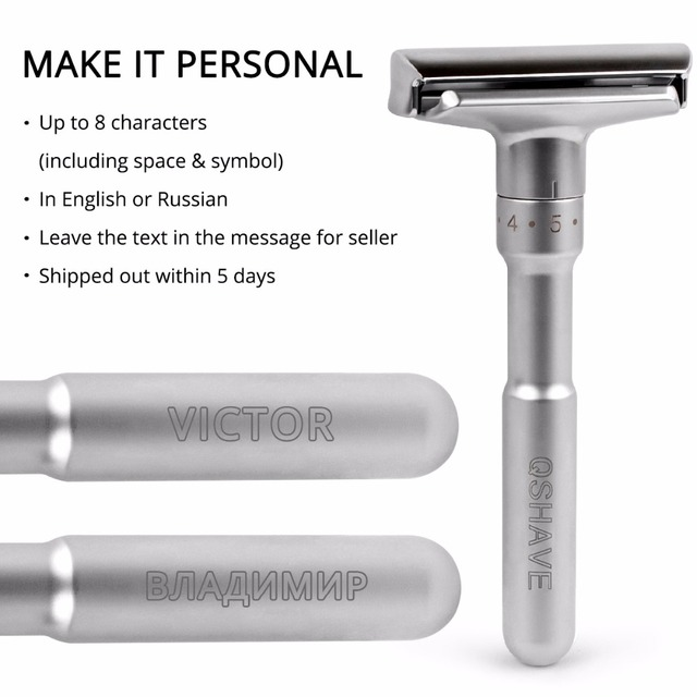 QSHAVE Adjustable Safety Razor Double Edge Classic Mens Shaving Mild to Aggressive 1-6 File Hair Removal Shaver it with 5 Blades 3