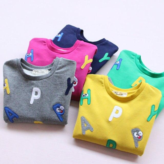 2017 весна новая мода дети рубашка топ детская одежда для детей письмо девушка причинно рубашка