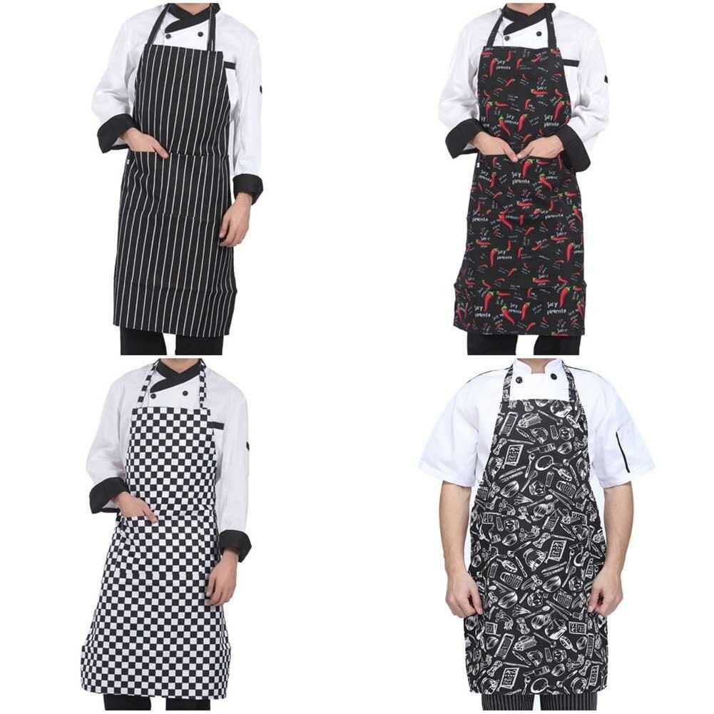 Adjustable Half-length Adult Apron Striped Hotel Restaurant Chef Waiter Apron Kitchen Cook Apron With 2 Pockets
