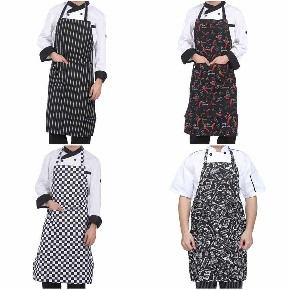 Adjustable Half-length Adult Apron Striped Hotel Restaurant Chef Waiter Apron Kitchen Cook Apron With 2 Pockets