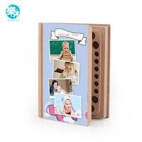 Ảnh hải quan! diy bé răng cuốn sách xuất hiện tiết kiệm răng sữa lưu trữ gỗ hộp quà tặng cho trẻ em montessori eucation gỗ bộ nhớ đồ chơi