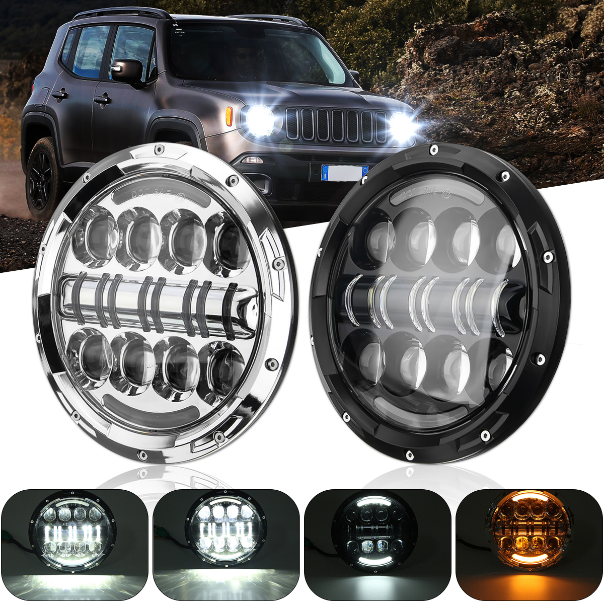 For Land Rover For Harley-Davidson Mofaner 7 Inch Motorcycle Headlight (Hi/Lo) Round 75W LED Car Headlamp For JeepFor Land Rover For Harley-Davidson Mofaner 7 Inch Motorcycle Headlight (Hi/Lo) Round 75W LED Car Headlamp For Jeep