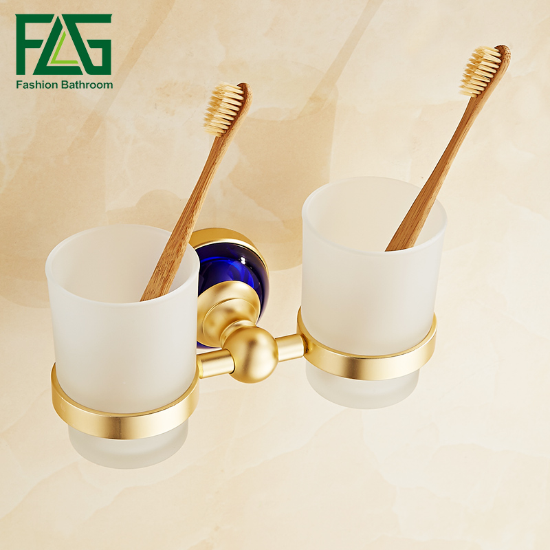 FLG Tumbler Holders Double Glass Cup Holder Wall Mounted Tooth Brush Tumbler Holder Gold  Bathroom Accessories