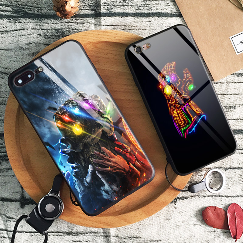Avengers infinity war Thanos Gauntlet MCU Glossy Tempered Glass Phone Case Shell Cover For Apple iphone 6 6S 7 8 Plus X 10