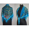 Light Blue Triangle Women's Velvet Silk Beaded Embroidery Shawl Scarf Wrap Scarves Peafowl Free Shipping SW09-A