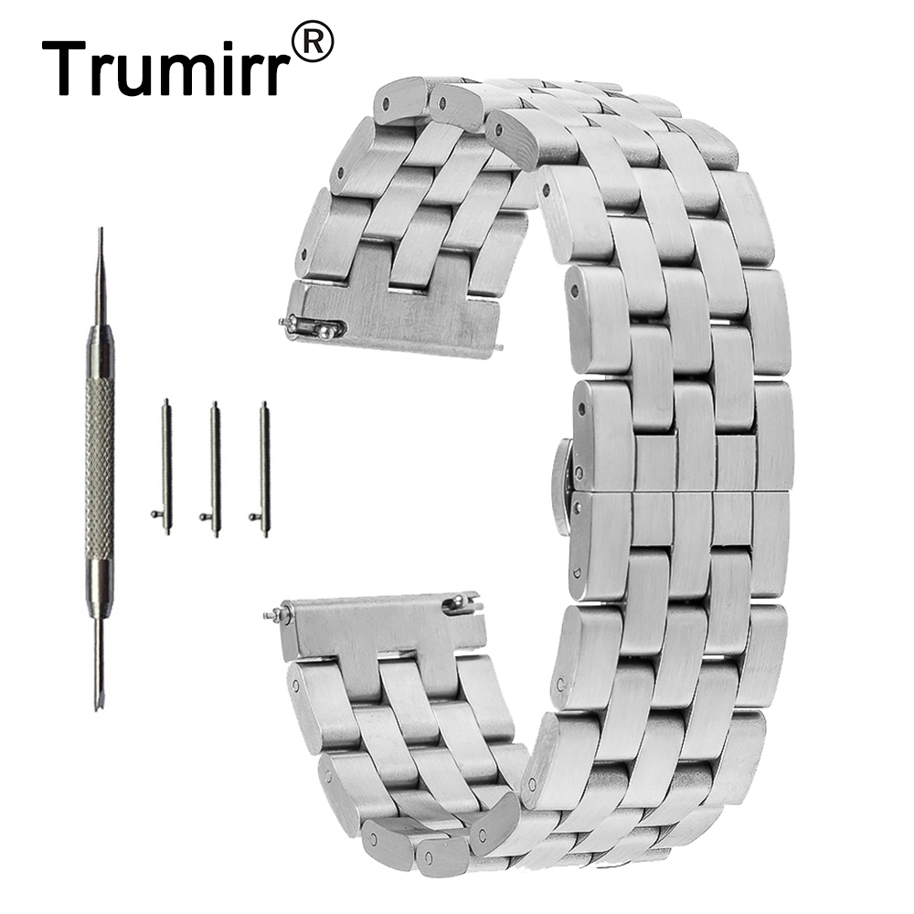 20mm 22mm Stainless Steel Watch Band Quick Release Strap for Breitling Butterfly Buckle Wrist Belt Bracelet + Tool Black Silver curved end stainless steel watch band for breitling iwc tag heuer butterfly buckle strap wrist belt bracelet 18mm 20mm 22mm 24mm
