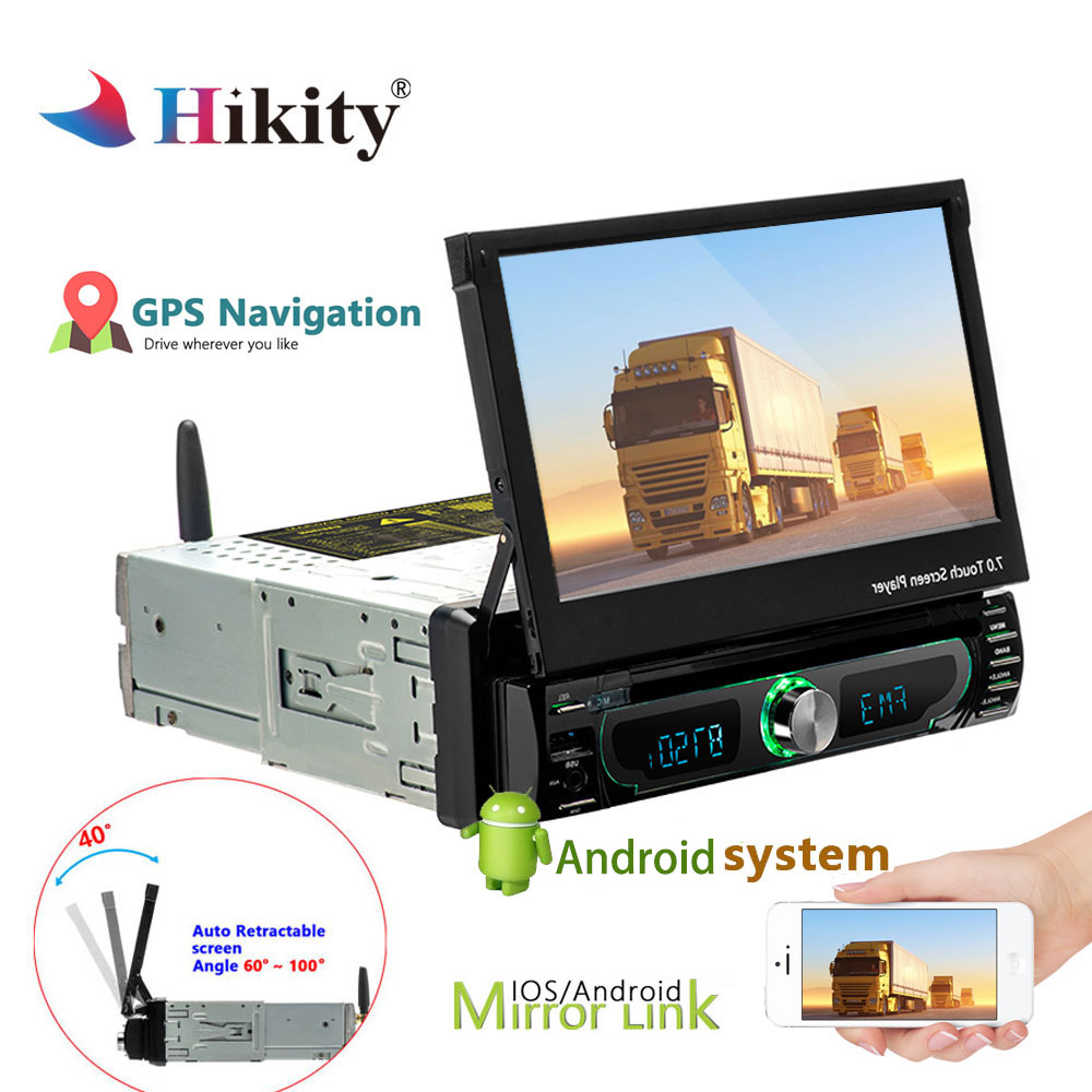 7''Android Hikity 1din Car Radio Stereo DVD Player Touch Screen MP5 1 din GPS FM SD USB Bluetooth In- dash Car Multimedia Player