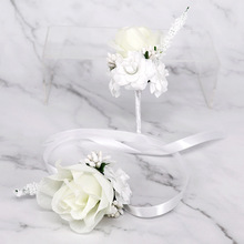10pcs Wedding Corsages and Boutonnieres Brooch 2019New Bride Groom Wrist Artificial Flowers