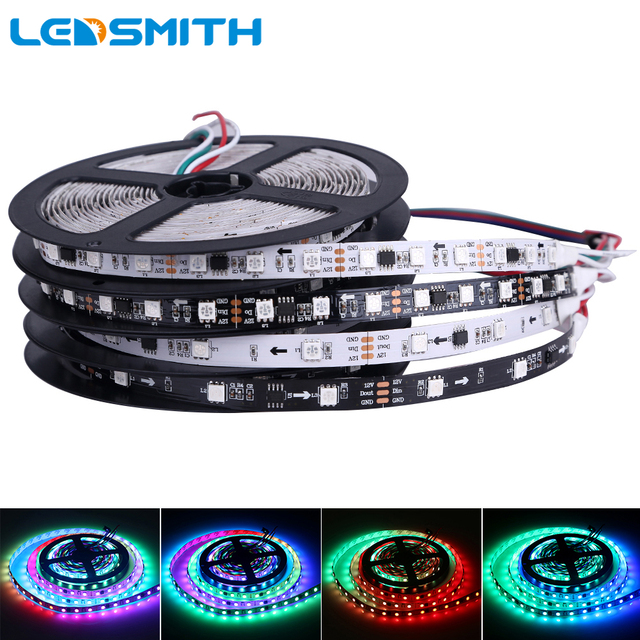 DC12V WS2811 LED Strip 5050 SMD RGB LED Tape 5M Dream Magic Color Addressable Digital Ledstrip 30/60 leds/m, 10/20 ic/m