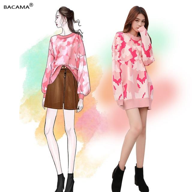 BACAMA 2018 Fall  Winter Women sweater Pink Camouflage Sweater Medium-long Loose Pullover Long Sleeve O-neck Knitwear Keep warm