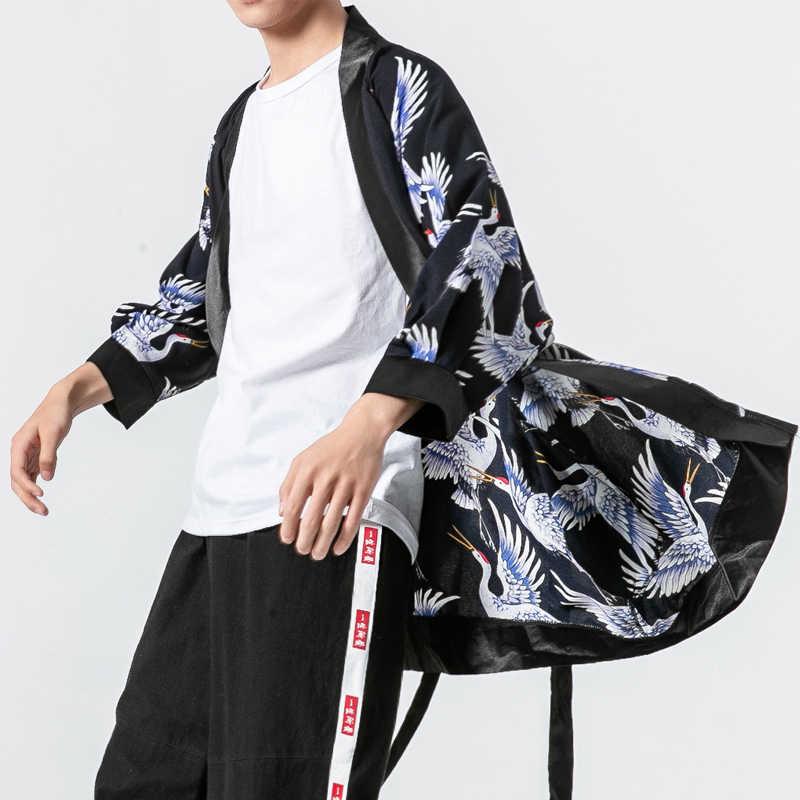 Мужской кимоно кардиган Тренч пальто мужской японский Harajuku Свободный Повседневный модный длинный рубашка ветровка куртка плюс размер M-5XL