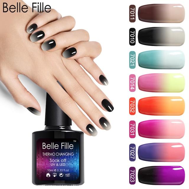 Belle Fille 10ml Temperature Change Gel Nail Polish UV Gel Long Lasting Nail Gel Vernis Semi Permanent UV Nail Gel Polish