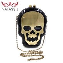 Natassie frauen schädel taschen damen designer-handtaschen und weiblichen schwarz abend kupplung geldbeutel