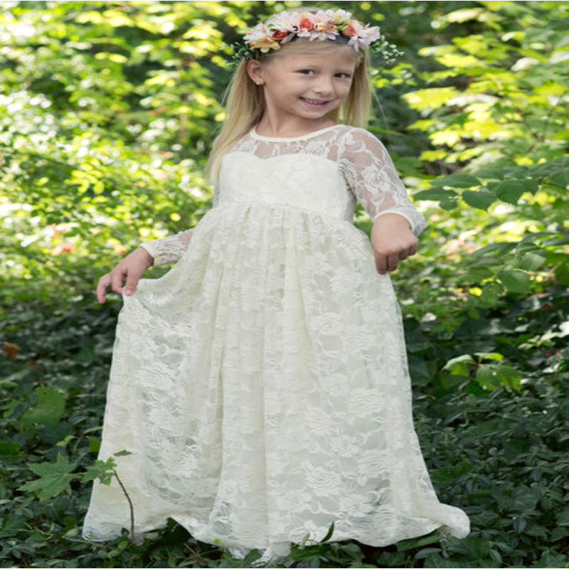 long Sleeve Flower Girl Dresses for Wedding Straight Mother Daughter Dresses Princess  Lace First Communion Dresses for Girls