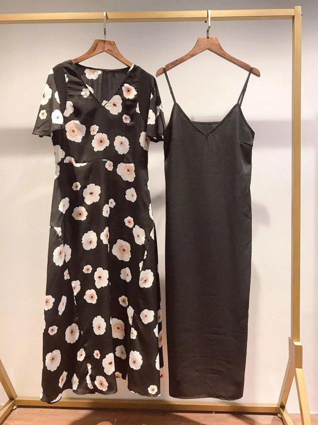Vestido largo estampado de flores con cuello en V negro a juego con Slip 2019 otoño nuevo para mujer-in Vestidos from Ropa de mujer    3