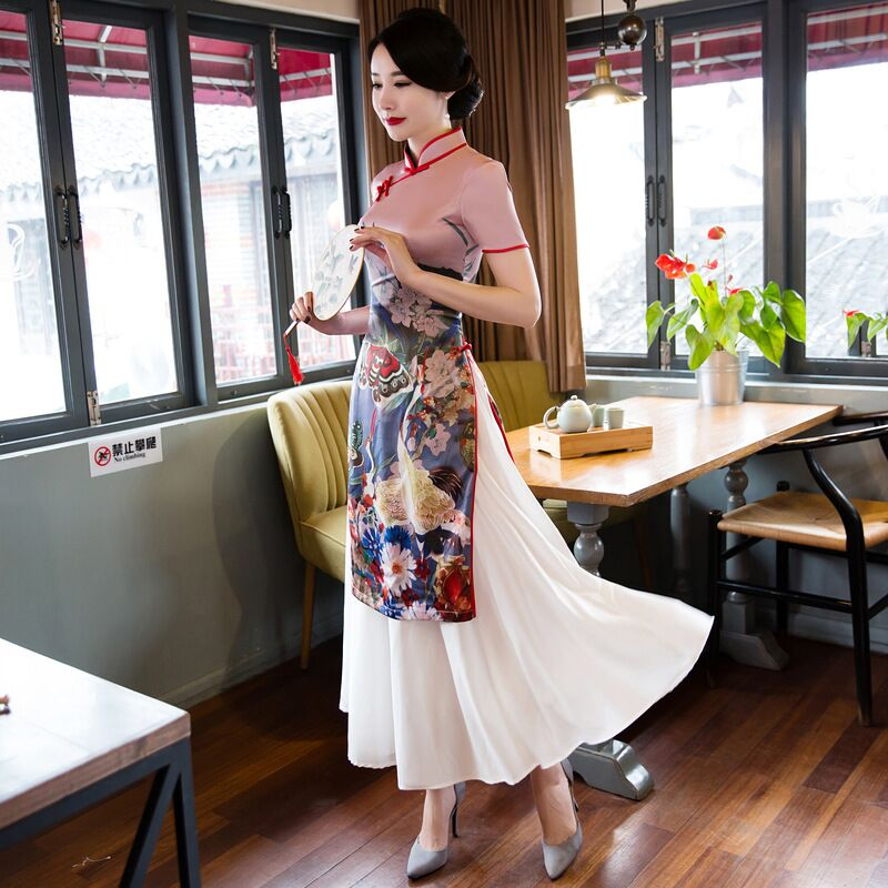 Chinois Rayonne Robe Xl De Femmes Nouveauté M 114 S Courtes Mode 113 Robes 19368 Manches À Femme Taille Qipao Cheongsam Xxl Long L 152 Vente Top x6w0zqR0d