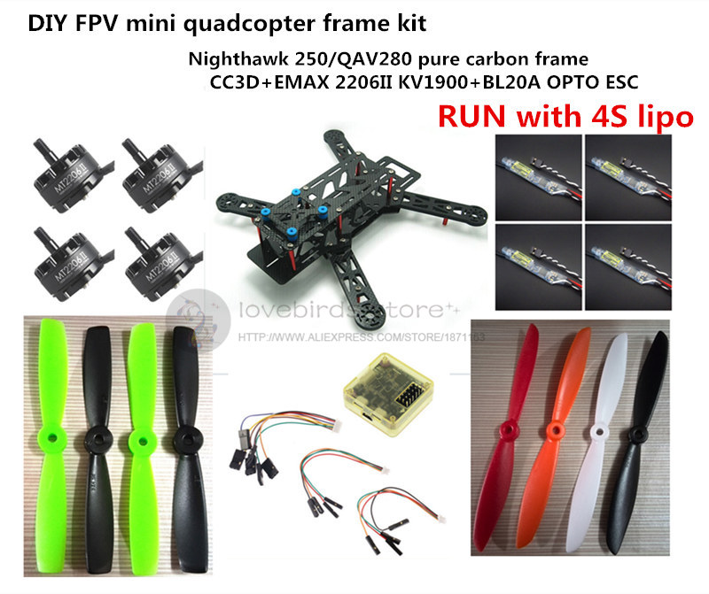 DIY FPV mini drone Nighthawk 250 / QAV280 quadcopter pure carbon frame run with 4S kit CC3D + EMAX MT2206 II 1900KV + CC3D r2w 6500p r 500w power tested working good