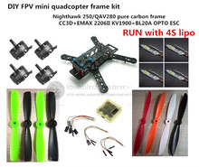 DIY FPV mini drone Nighthawk 250 / QAV280 quadcopter pure carbon frame run with 4S kit CC3D + EMAX MT2206 II 1900KV + CC3D