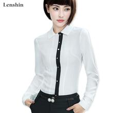 Lenshin Lágy és kényelmes póló Lélegző fehér blúz Női női viselet Alkalmi Style Office Lady Tops