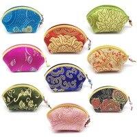 10 stks Mix kleur Zijde Geborduurd Brocade Sieraden Bag Rits Portemonnee, Gift Bag Waarde Set Jewel tassen pouches