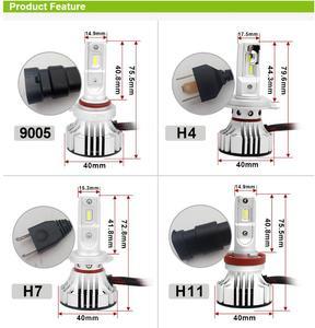 Image 5 - 1 مجموعة H4 F2 سيارة الصمام العلوي 9003 H1 H7 H8 H9 H11 9005 9006 HB3/4 9012 72W 12000LM CSP رقائق مروحة تربو 6000K الجبهة مصابيح لمبات