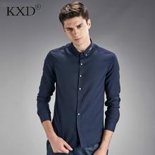 KXD Бесплатная доставка Новая Коллекция Весна мужчина с длинными рукавами рубашки сплошной цвет тонкий вышивка цветок мужская волокна плюс размер XXXL