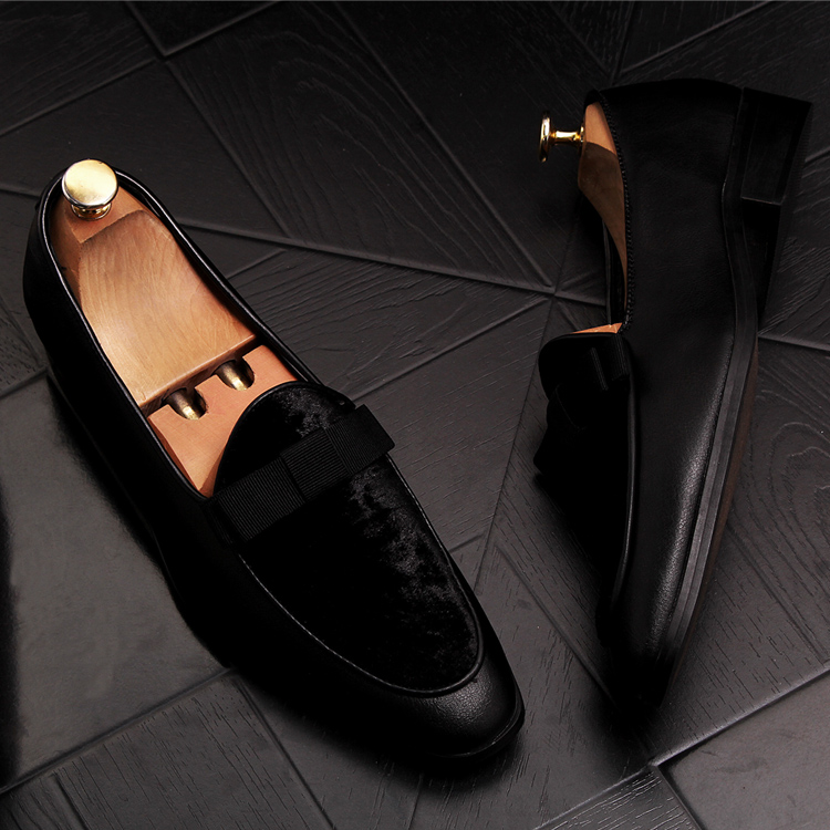 2019 Men Brand Dress Loafers Shoes Bow Tie Slippers Gentlemen Wedding Flats Casual Slip on Black+Red Suede Flats Shoes 19
