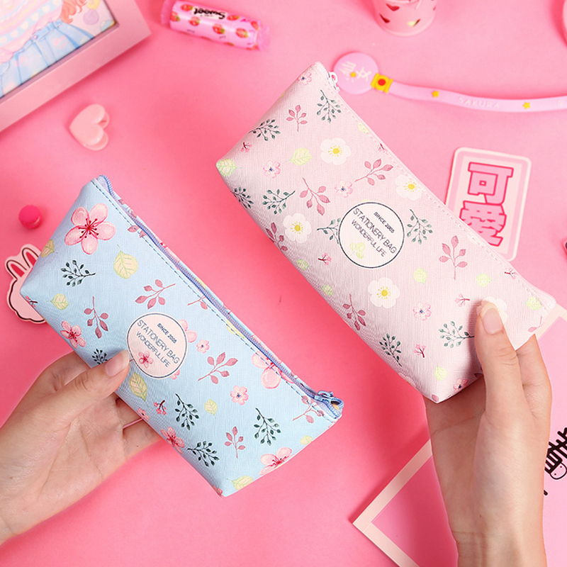 Beautiful flowers Teenage girl pencil case PU leather school pencil bag for girl stationery estojo escolar school suppliesBeautiful flowers Teenage girl pencil case PU leather school pencil bag for girl stationery estojo escolar school supplies