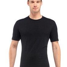 Мужская футболка из мериносовой шерсти, рубашка из мериносовой шерсти, мягкая Влагоотводящая Мужская футболка с сопротивлением запаху, 160 г, размер M-XL, Черная