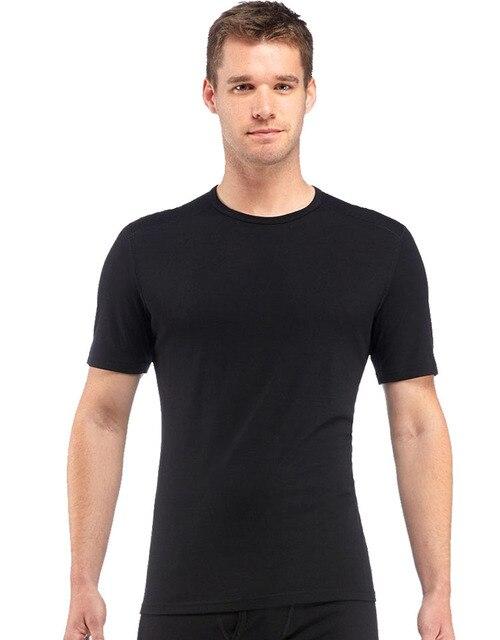 2020 Mannen Merino Wol T shirt 100% Merino Wol Shirt Zachte Vochtregulerende Geur Weerstand T shirt Mannen 160G size M XL Zwart