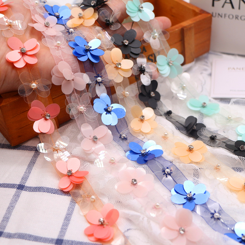 1Y Flower Embroidered Lace Trim Beaded Ribbon Wedding Dress Clothing Sewing DIY