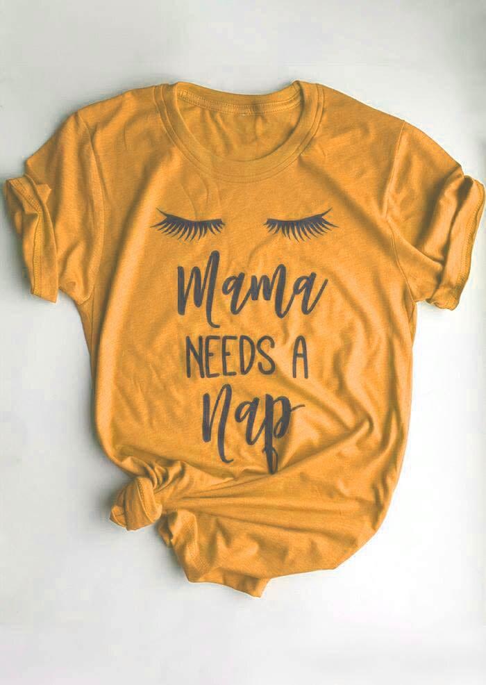 Mama Ha Bisogno di UN Pisolino T-Shirt Tumblr Breve Lettera Del Manicotto Magliette e camicette Occhio Pisolino Tee Pantaloni A Vita Bassa Mamma Camicia mothday delle Dy regalo t shirt vestiti di giallo