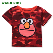SOGNI KIDS Toddler Kids Baby Boys Girls Infant Short T Shirt Camouflage Cartoon Cotton Summer Tops Clothing Tee Blouse Shirts