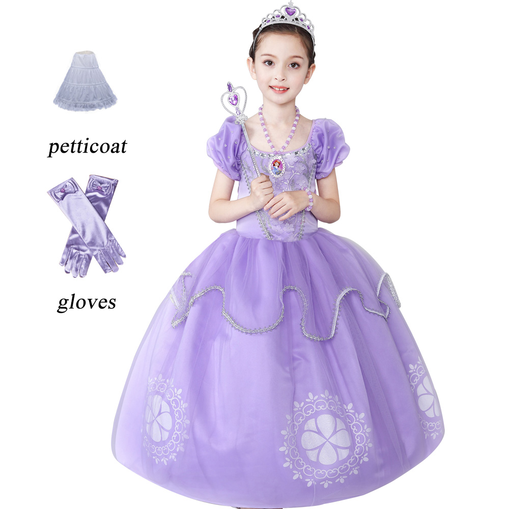 Kids Girls vestido princesa sofia dresses Children Clothes For Girl dress Puff Sleeve Vestido infant Party wear Long dress princesa extra 310 мл arcoroc