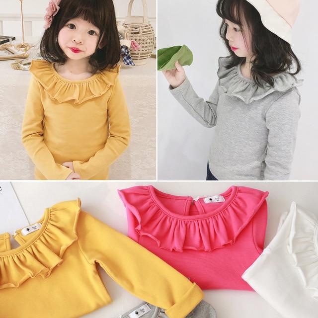 Toddler Kids Baby Girls Cotton shirt Long Sleeve Solid Tops Spring Autumn Girls Basic Tee Shirt RT508 2