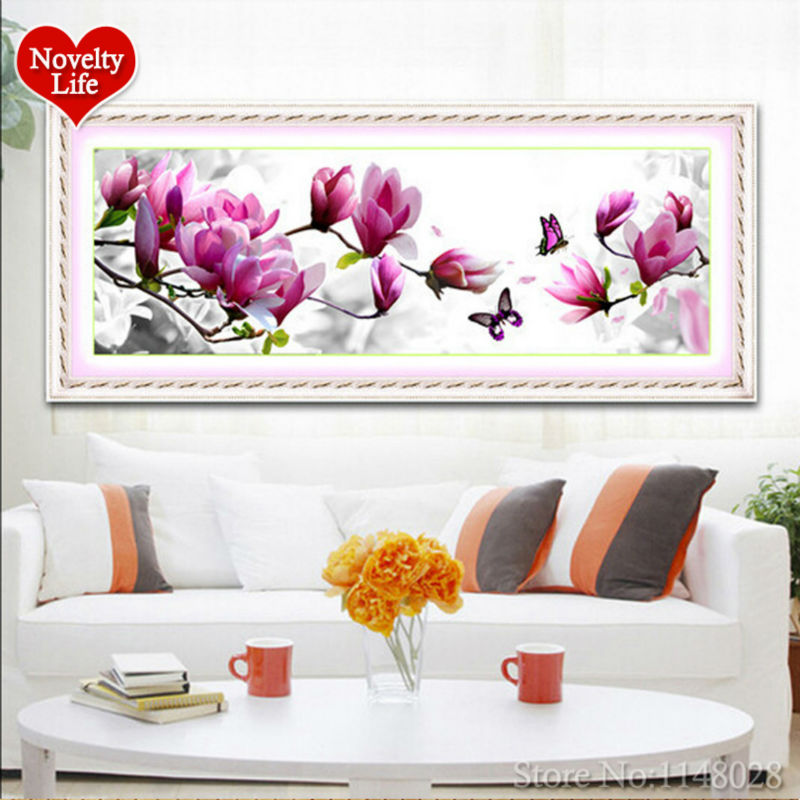 Rășină rotundă 5D Rășină roșie cu diamant Cristal non-completă Broderie Home Decor roz Magnolia model Flori DIY Cross Stitch Needlework